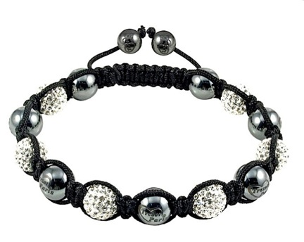 Tresor Paris Grey Crystal with Magnetite Shamballa Bracelet