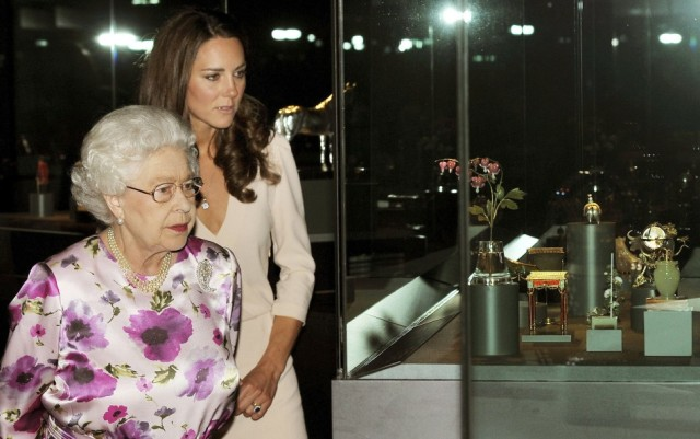 The Queen and the Duchess of Cambridge take in a priceless display at the Royal Fabergé exhibition.