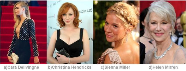 Cara Delevingne, Christina Hendricks, Sienna Miller or Helen Mirren