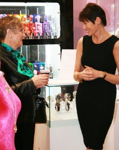 Owner Jo Stroud chatting to a customer at the Alex and Ani launch
