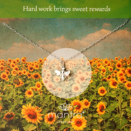 bee-silver necklace card