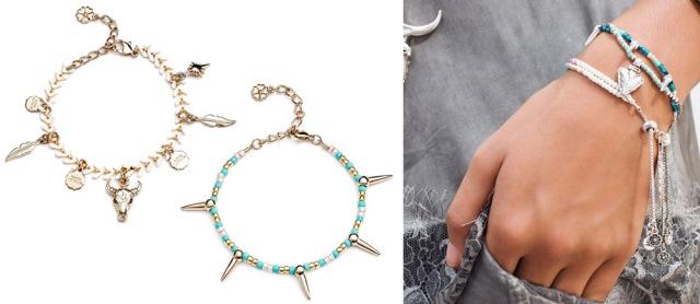 Azuni London Santa Fe Bracelet Designer Jewellery Festival Gold Turquoise Stack