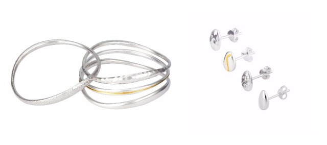 Designer Jewellery Sterling Silver Gold Bangles Stud Earrings Life's Journey